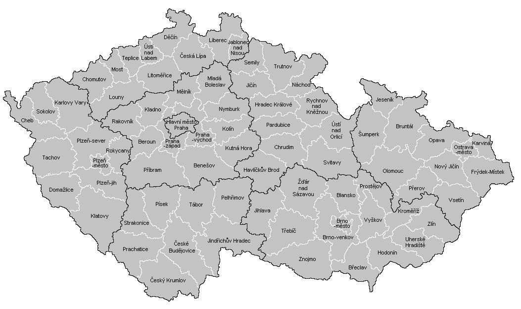 Mapa Okresu Cr Mapa Cr Ceske Republiky